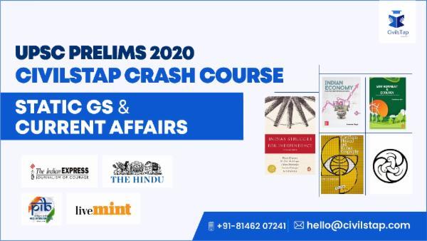 UPSC Prelims 2020 - Crash Course - Static GS + Current Affairs cover
