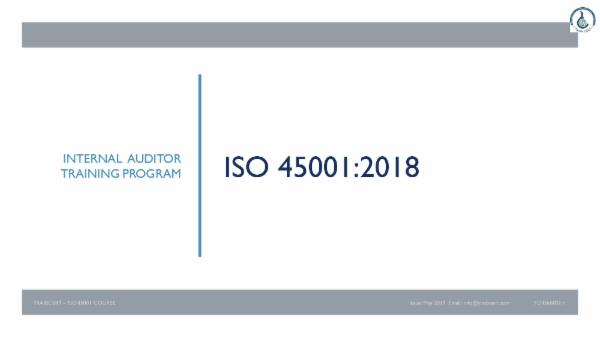 ISO 45001:2018 Internal Auditor Course cover