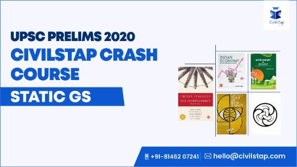 UPSC Prelims 2020 - Crash Course - Static GS cover