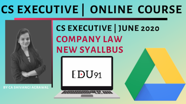 CS Executive Company Law New Syllabus June 2020 | Laptop Online cover