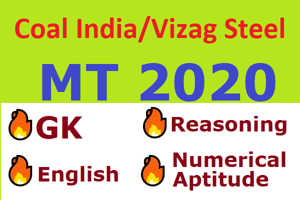 Coal India/Vizag Steel Management Trainee 2020 Paper 1 Course (English, Reasoning, Numerical Ability, General Knowledge) cover