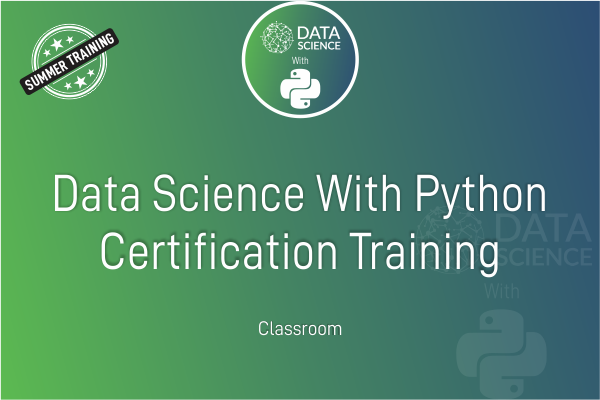 Data Science With Python - Summer Training cover