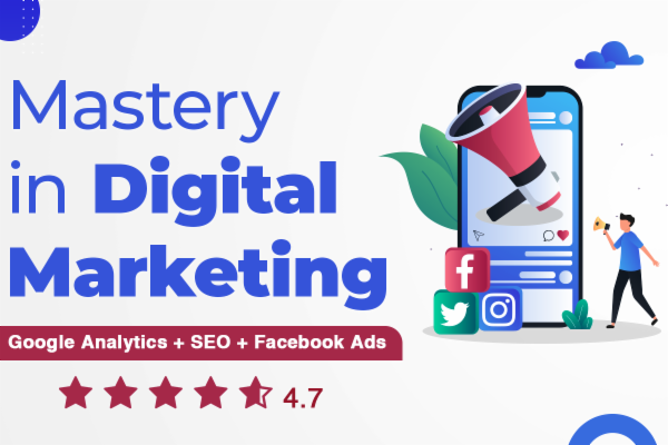 Mastery in Digital Marketing (Google Analytics + Facebook Ads + Google Ads + SEO ) cover