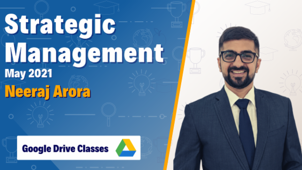 CA Inter Strategic Management Google Drive Classes For May 2021 by Neeraj Arora cover