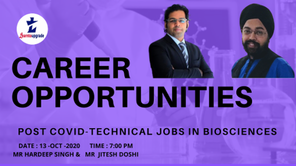 WebTalk Series-Career Opportunities in BioSciences Post Covid- 13th Oct cover