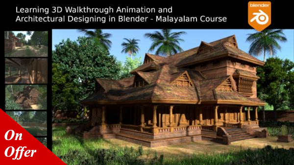 Learning 3D Architectural Visualisation and Walkthrough Animation in Blender - Malayalam Course cover