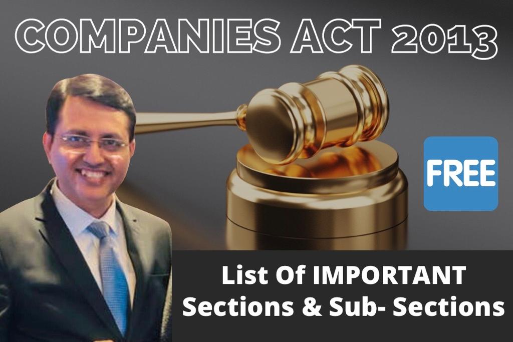 List of Important Sections & Sub-Sections cover