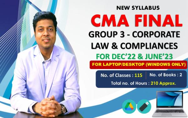 CMA FINAL Paper 13- Corporate Law & Compliance - FOR LAPTOP/DESKTOP (WINDOWSONLY) - LIVE FACE TO FACE cover