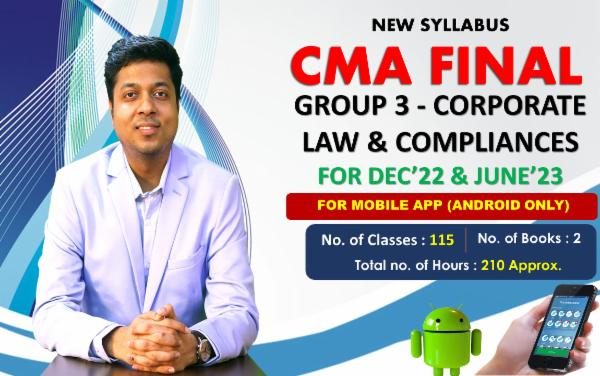 CMA FINAL Paper 13- Corporate Law & Compliance - FOR MOBILE APP (ANDROID ONLY) - LIVE FACE TO FACE cover