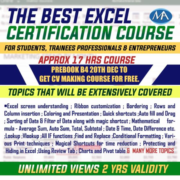 SKILL ENHANCEMENT COURSE - EXCEL - FOR LAPTOP/DESKTOP (WINDOWS ONLY) cover