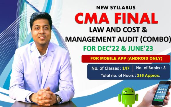 CMA FINAL - LAW AND COST & MANAGEMENT AUDIT(BOTH GROUP COMBO) FOR MOBILE APP (ANDROID ONLY) - LIVE FACE TO FACE cover
