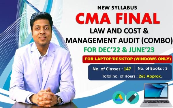 CMA FINAL - LAW AND COST & MANAGEMENT AUDIT(BOTH GROUP COMBO) FOR LAPTOP/DESKTOP (WINDOWS ONLY) - LIVE FACE TO FACE cover