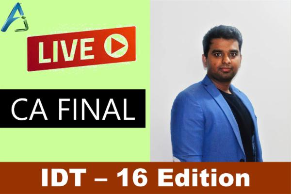 CA FINAL - IDT - Nov 2021 / May 2022 - Live cover