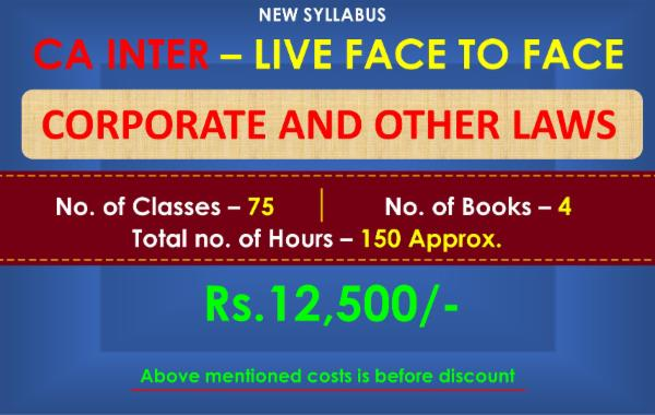 CA INTER - CORPORATE AND OTHER LAWS - LIVE FACE TO FACE BATCH cover
