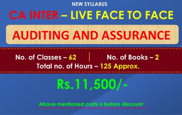 CA INTER - AUDITING AND ASSURANCE- LIVE FACE TO FACE BATCH cover