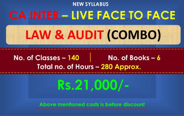 CA INTER - LAW AND AUDIT (COMBO)- LIVE FACE TO FACE BATCH cover