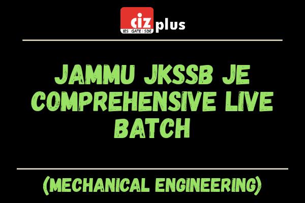 Jammu JKSSSB JE (Mechanical) Comprehensive Live Batch cover