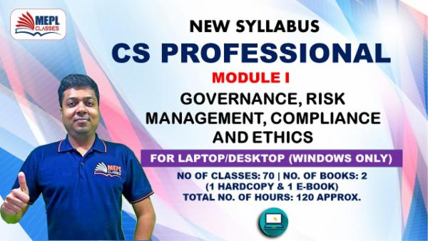 CS PROFESSIONAL - MODULE 1 - GOVERNANCE, RISK MANAGEMENT, COMPLIANCE AND ETHICS - FOR LAPTOP/DESKTOP (WINDOWS ONLY) cover