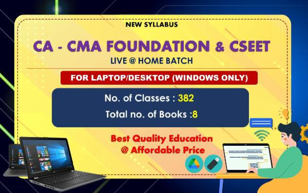 CA , CMA FOUNDATION & CSEET- ALL PAPERS COMBO - LIVE AT HOME - FOR LAPTOP/DESKTOP (WINDOWS ONLY) cover