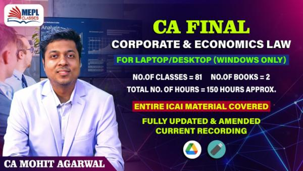 CA FINAL - CORPORATE & ECONOMICS LAW - LIVE AT HOME - FOR LAPTOP/DESKTOP (WINDOWS ONLY) cover