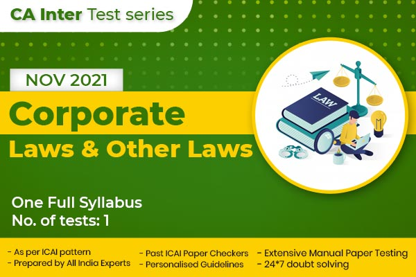 CA INTER Corporate Laws & Other Laws One Full Syllabus Test cover
