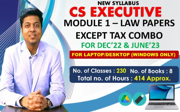 CS EXECUTIVE - MODULE 1 EXCEPT TAX COMBO - LIVE AT HOME BATCH - FOR LAPTOP/DESKTOP (WINDOWS ONLY) cover