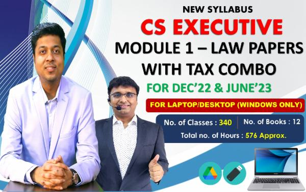 CS EXECUTIVE - MODULE 1 WITH TAX COMBO - LIVE AT HOME BATCH - FOR LAPTOP/DESKTOP (WINDOWS ONLY) cover