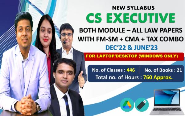 CS EXECUTIVE - BOTH MODULE ALL PAPERS WITH TAX COMBO - LIVE AT HOME BATCH - FOR LAPTOP/DESKTOP (WINDOWS ONLY) cover