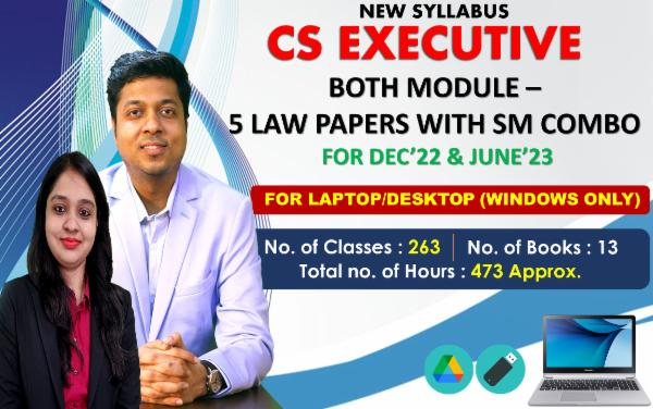 CS EXECUTIVE - BOTH MODULE ALL LAW PAPERS WITH SM - LIVE AT HOME BATCH - FOR LAPTOP/DESKTOP (WINDOWS ONLY) cover