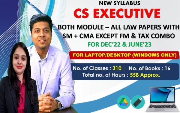 CS EXECUTIVE - ALL LAW PAPERS COMBO EXCEPT FM & TAX - LIVE AT HOME BATCH - FOR LAPTOP/DESKTOP (WINDOWS ONLY) cover