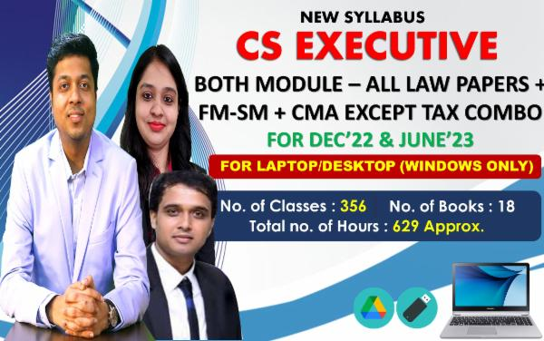 CS EXECUTIVE - ALL PAPERS COMBO EXCEPT TAX - LIVE AT HOME BATCH - FOR LAPTOP/DESKTOP (WINDOWS ONLY) cover