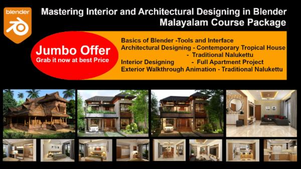 Mastering Interior and Architectural Designing in Blender - Malayalam Course Package cover