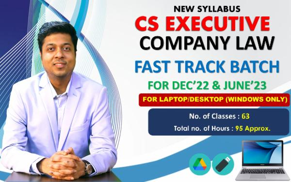 CS EXECUTIVE - COMPANY LAW - FAST TRACK BATCH - FOR LAPTOP/DESKTOP (WINDOWS ONLY) cover