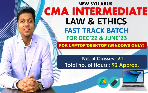 CMA INTER - LAWS & ETHICS - FAST TRACK BATCH - FOR LAPTOP/DESKTOP (WINDOWS ONLY) cover