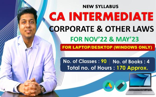 CA INTER - CORPORATE & OTHER LAWS - FOR MAY 22 & NOVEMBER 22 - LIVE @ HOME BATCH - FOR LAPTOP/DESKTOP (WINDOWS ONLY) cover