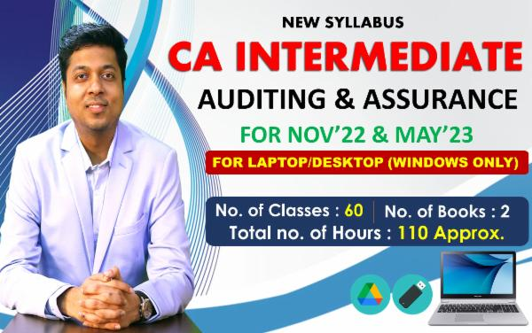 CA INTER - AUDITING & ASSURANCE - FOR MAY 22 & NOVEMBER 22 - LIVE @ HOME BATCH & LIVE FACE TO FACE - FOR LAPTOP/DESKTOP (WINDOWS ONLY) cover