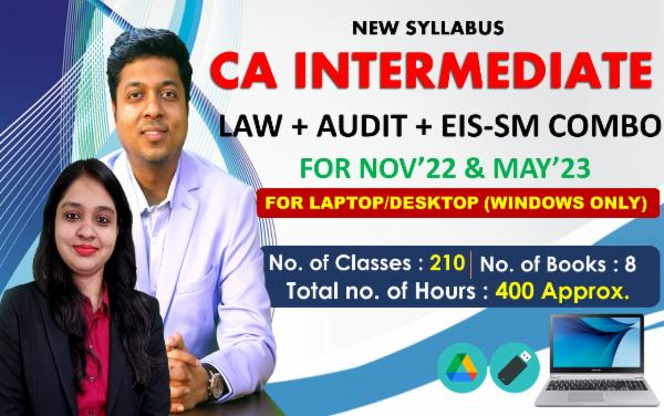 CA INTER - LAW & AUDIT & EIS-SM COMBO - FOR MAY 22 & NOVEMBER 22 - LIVE @ HOME BATCH - FOR LAPTOP/ DESKTOP (WINDOWS ONLY) cover