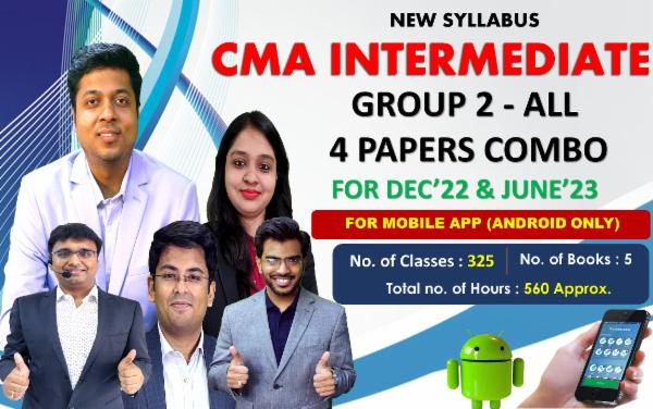 CMA INTER - GROUP 2 - ALL PAPERS COMBO - LIVE @ HOME BATCH - FOR MOBILE APP (ANDROID ONLY) cover