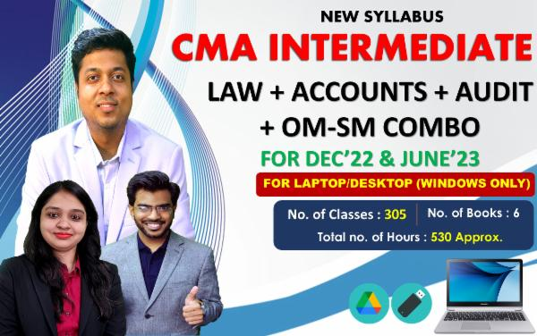 CMA INTER - LAW + ACCOUNTS (BOTH GROUP) + AUDIT + OM-SM (COMBO) - LIVE @ HOME BATCH - FOR LAPTOP/DESKTOP (WINDOWS ONLY) cover