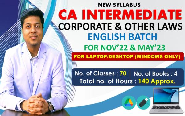 CA INTER - CORPORATE & OTHER LAWS - FOR MAY 22 & NOVEMBER 22 - LIVE @ HOME ENGLISH BATCH - FOR LAPTOP/DESKTOP (WINDOWS ONLY) cover