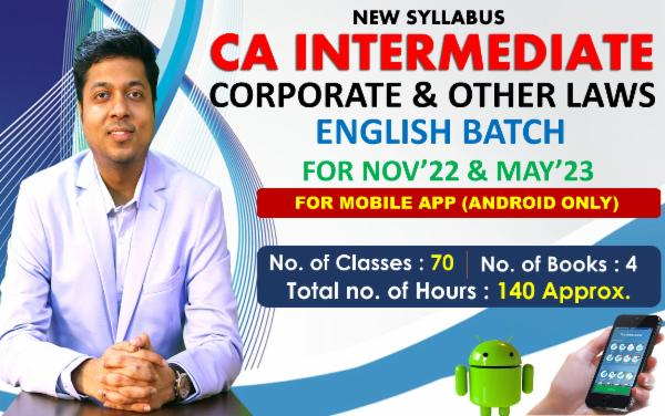 CA INTER - CORPORATE & OTHER LAWS - FOR MAY 22 & NOVEMBER 22 - LIVE @ HOME ENGLISH BATCH - FOR MOBILE APP (ANDROID ONLY) cover