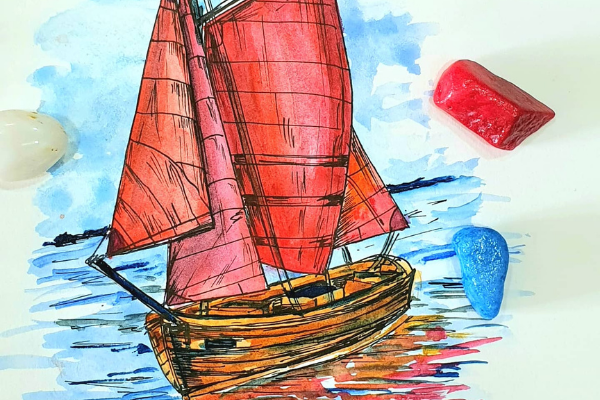 Boat Illustration with Watercolor and Ink cover