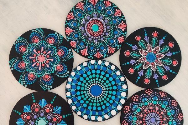 Therapeutic Dot Art Mandalas on Coasters cover