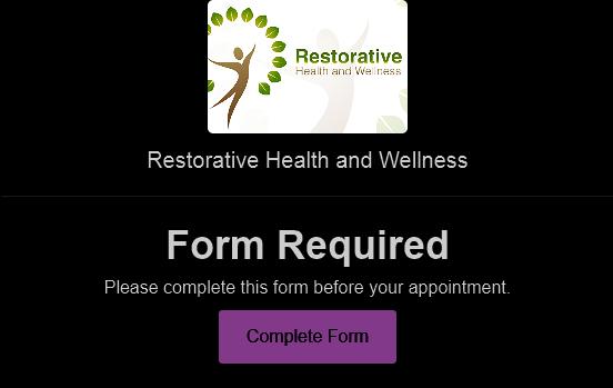 Intake form for medical massage